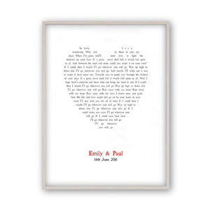 Personalised Wedding First Dance Song Lyrics Heart Print - Blim & Blum