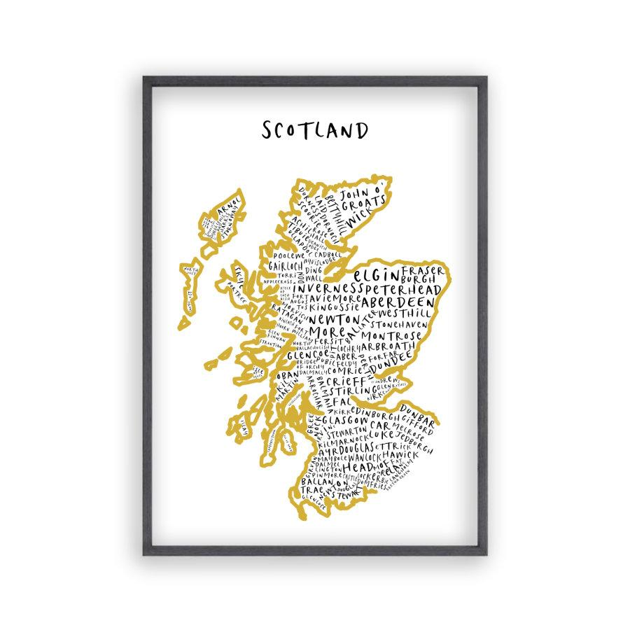 Scotland Typography Map Print - Blim & Blum
