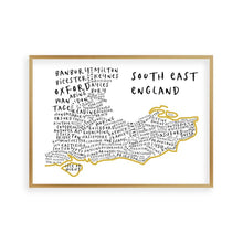 Load image into Gallery viewer, South East England Typography Map Print - Blim & Blum