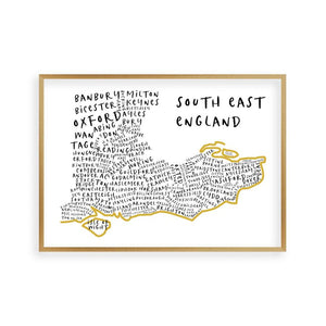 South East England Typography Map Print - Blim & Blum