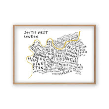 Load image into Gallery viewer, South West London Typography Map Print - Blim & Blum