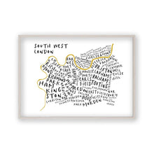 South West London Typography Map Print - Blim & Blum