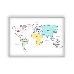 World Map Watercolour Print