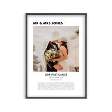 Load image into Gallery viewer, Personalised First Dance Photo Lyrics Second Anniversary Cotton Print
