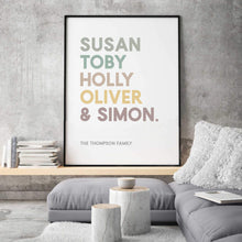 Load image into Gallery viewer, Personalised Family Names Print - Blim & Blum