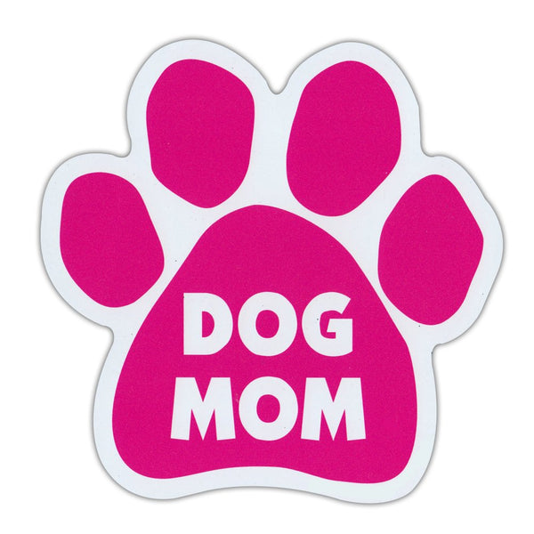 "Dog Paw Magnet - Dog Mom, Pink (5.5"" x 5.5"")"