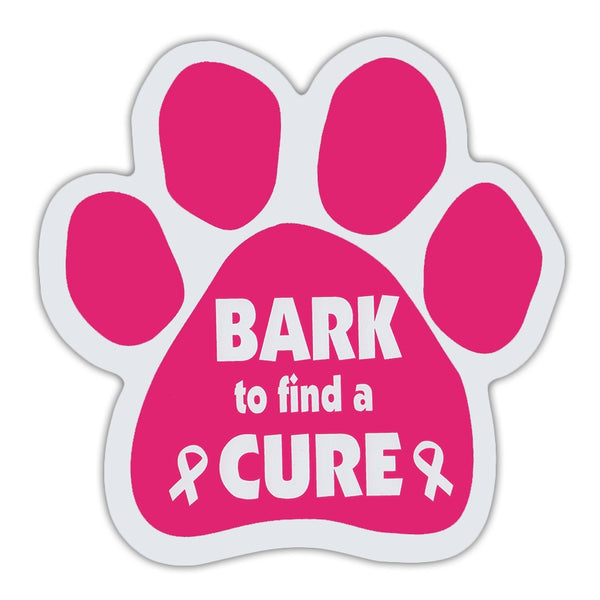 Pink Dog Paw Magnet - Bark To Find A Cure