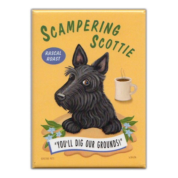 Refrigerator Magnet - Scampering Scottie Coffee