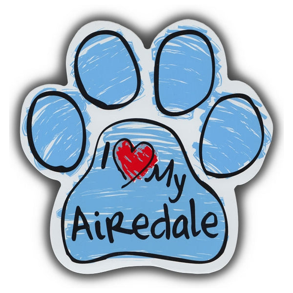Blue Scribble Dog Paw Magnet - I Love My Airedale