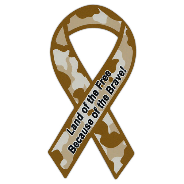 Ribbon Magnet - Land of free because of brave!