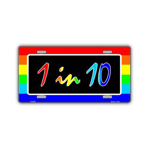 Aluminum License Plate Cover - Rainbow Gay Pride Flag 1 in 10
