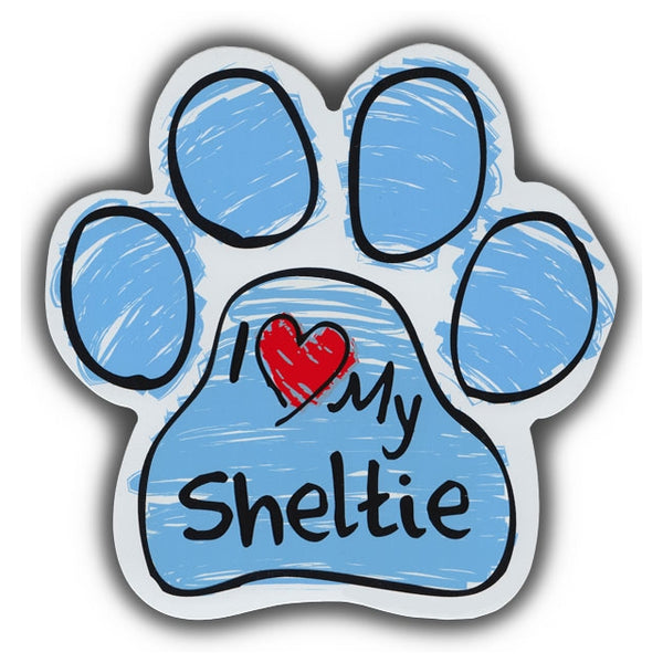 Blue Scribble Dog Paw Magnet - I Love My Sheltie