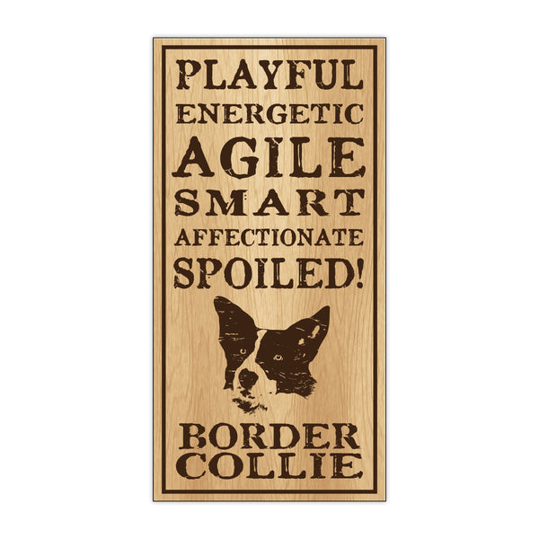 Wood Sign - Spoiled Border Collie