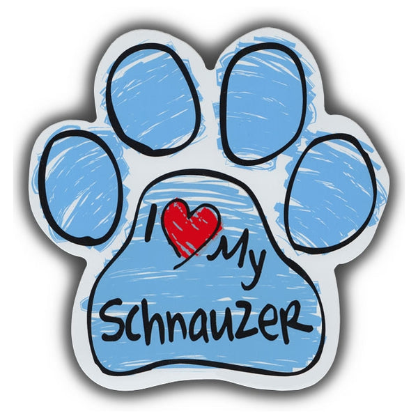 Blue Scribble Dog Paw Magnet - I Love My Schnauzer