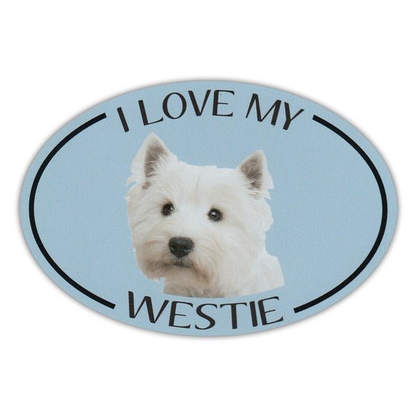 Oval Dog Magnet - I Love My Westie