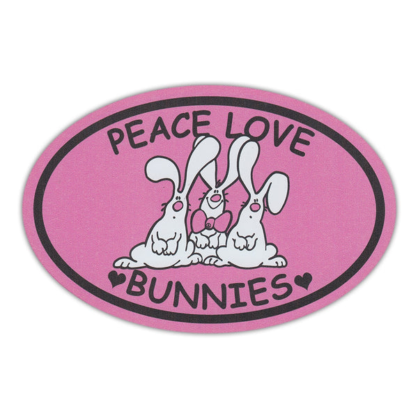 Oval Magnet - Peace, Love, Bunnies