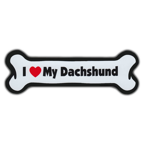 Dog Bone Magnet - I Love My Dachshund