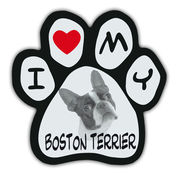 Picture Paw Magnet - I Love My Boston Terrier