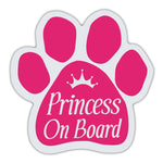 Pink Dog Paw Magnet - Princess On Board
