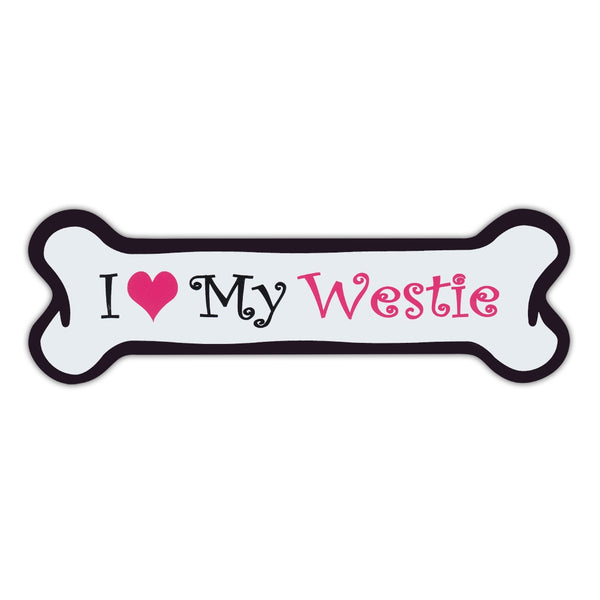 Pink Dog Bone Magnet - I Love My Westie