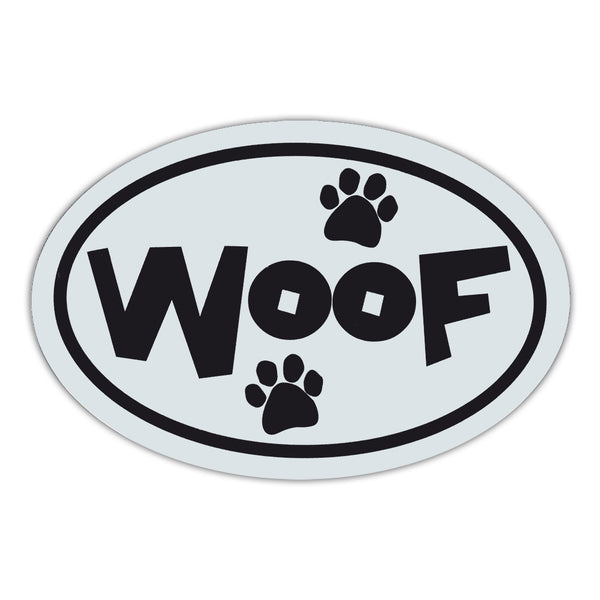 Oval Magnet - Woof Black & White
