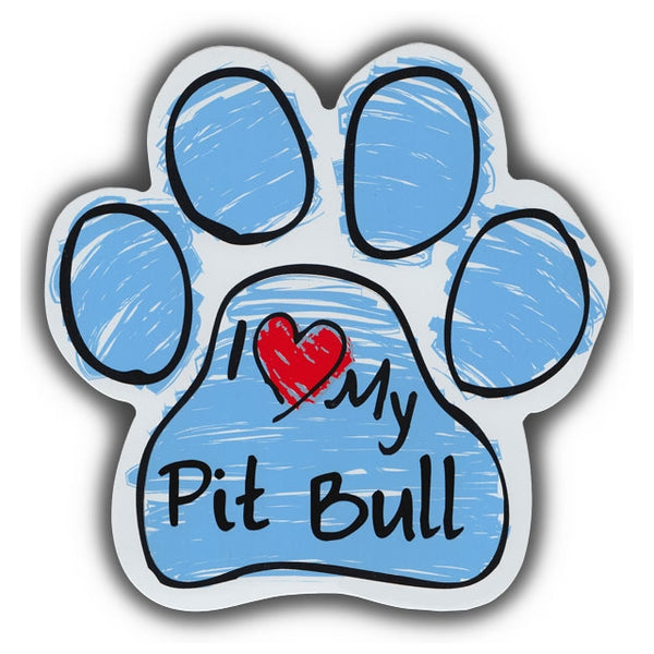 Blue Scribble Dog Paw Magnet - I Love My Pit Bull