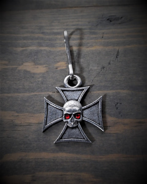 "Zipper Pull - Chopper Iron Cross With Skull (1"" x 1"")"