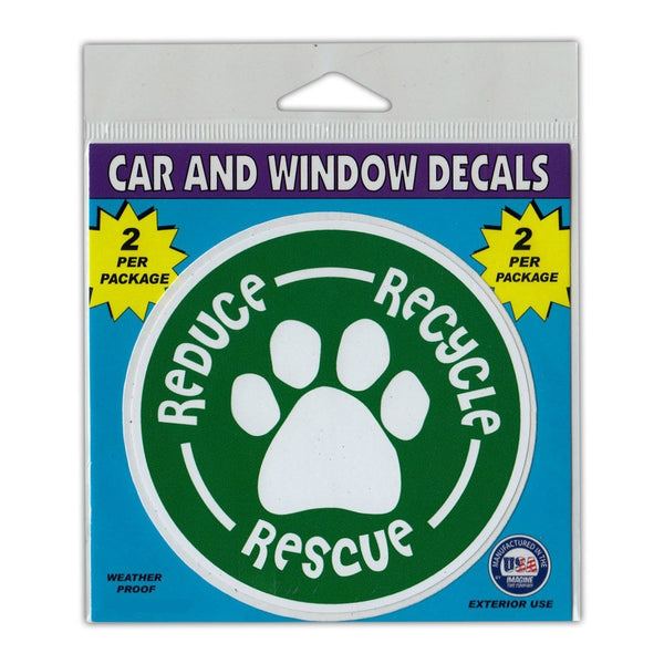 "Window Decals (2-Pack) - Reduce, Recycle, Rescue (4"" Diameter)"