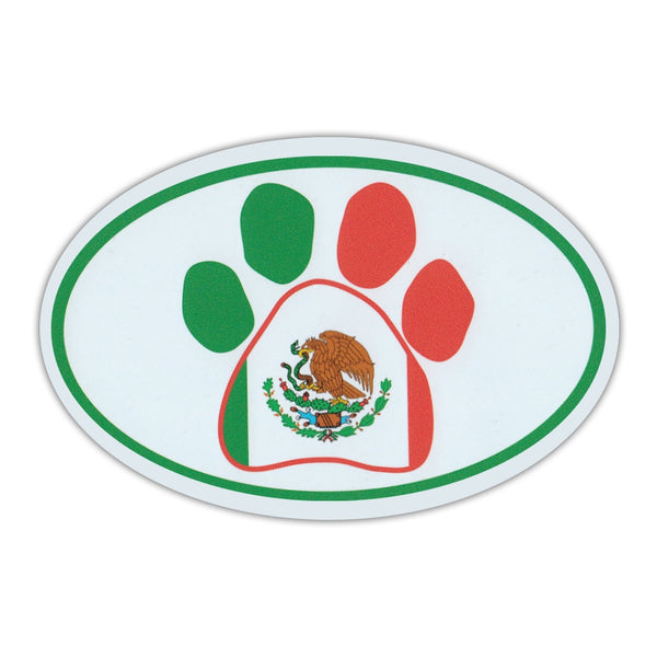 Oval Magnet - Dog Paw Mexican Flag