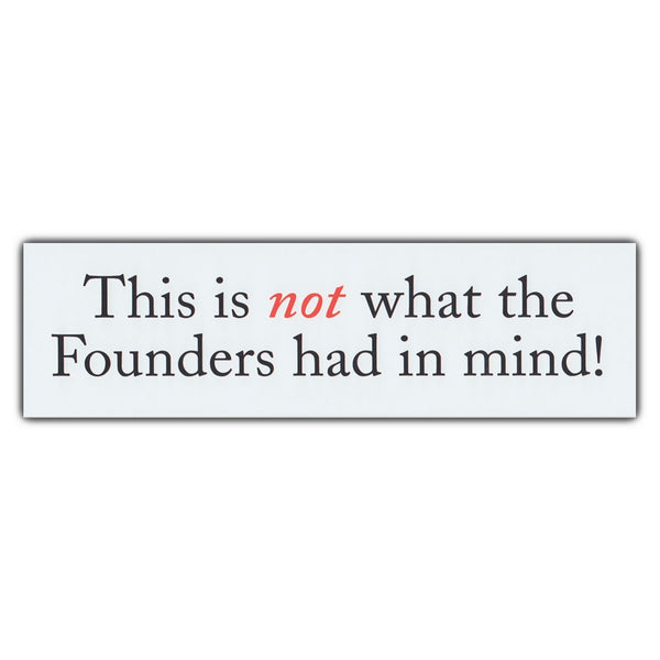 Bumper Sticker - This is not what the Founders had in mind!