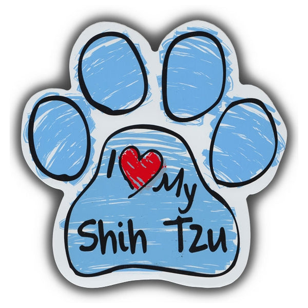 Blue Scribble Dog Paw Magnet - I Love My Shih Tzu
