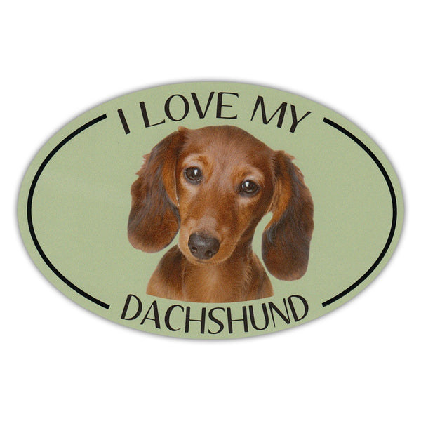 Oval Dog Magnet - I Love My Dachshund