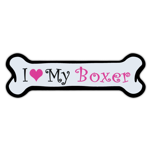 Pink Dog Bone Magnet - I Love My Boxer