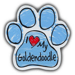 Blue Scribble Dog Paw Magnet - I Love My Goldendoodle