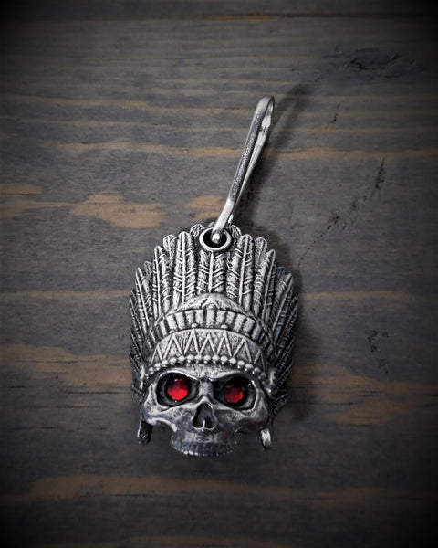 "Zipper Pull - Indian Skull With Feather Headdress (Red Diamond Eyes) (1"" x 1.5"")"