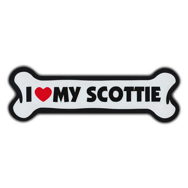 Giant Size Dog Bone Magnet - I Love My Scottie