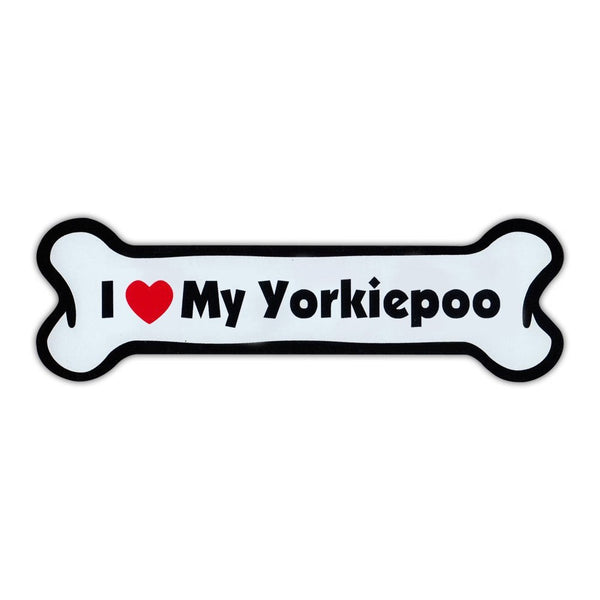 Dog Bone Magnet - I Love My Yorkiepoo