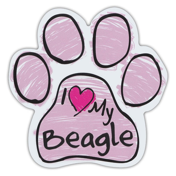 Pink Scribble Dog Paw Magnet - I Love My Beagle