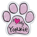 Pink Scribble Dog Paw Magnet - I Love My Yorkie