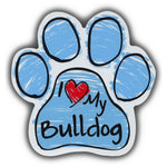 Blue Scribble Dog Paw Magnet - I Love My Bulldog
