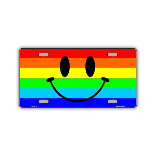 Aluminum License Plate Cover - Rainbow Pride Flag Smiley Face
