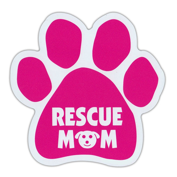 "Dog Paw Magnet - Dog Rescue Mom (Pink, Dog Face Graphic) (5.5"" x 5.5"")"