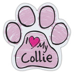 Pink Scribble Dog Paw Magnet - I Love My Collie