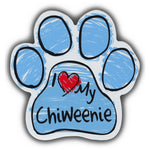 Blue Scribble Dog Paw Magnet - I Love My Chiweenie