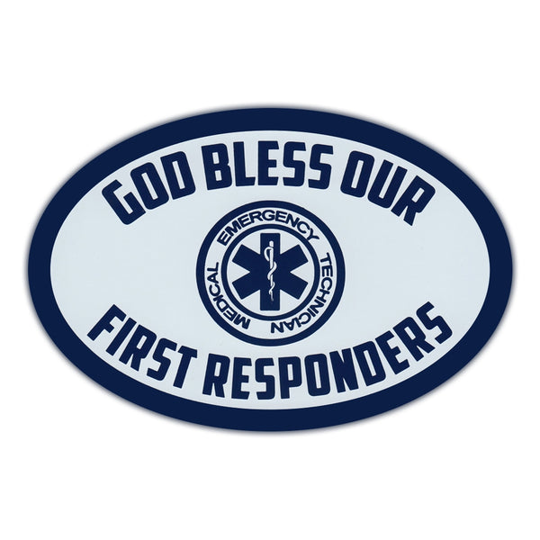 Oval Magnet - God Bless Our First Responders
