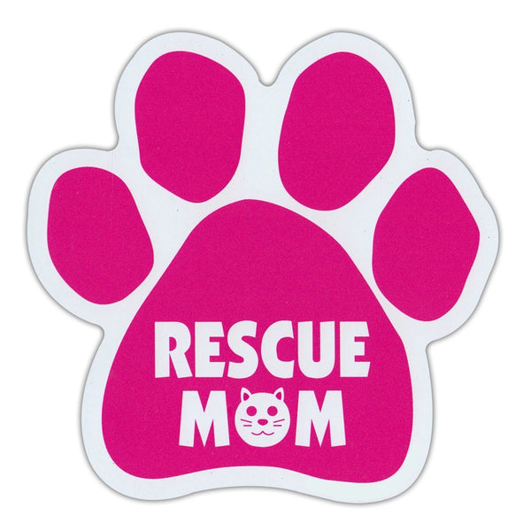 "Cat Paw Magnet - Cat Rescue Mom (Pink, Cat Face Graphic) (5.5"" x 5.5"")"
