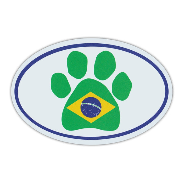 Oval Magnet - Dog Paw Brazilian Flag