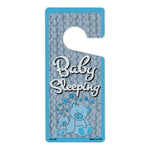 "Door Tag Hanger - Baby Sleeping, Blue (4"" x 9"")"