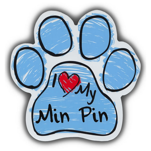 Blue Scribble Dog Paw Magnet - I Love My Min Pin