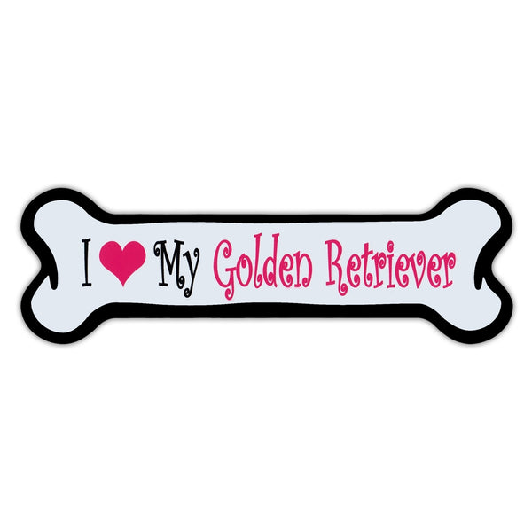 Pink Dog Bone Magnet - I Love My Golden Retriever